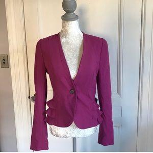 Raspberry blazer with ruffles